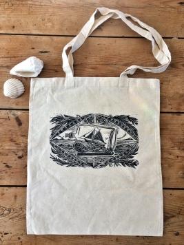 Safe Sailing, hand printed bag.